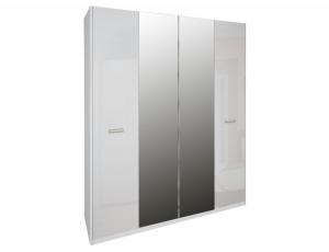 Шкаф 4д «Белла» с зеркалом | Глянец белый