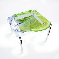 Стол обеденный Квадратный с полкой Ice lime