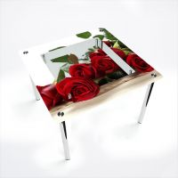 Стол обеденный Квадратный с полкой Red Roses