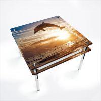 Стол обеденный Квадратный с проходящей полкой Sunset