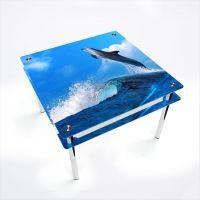 Стол обеденный Квадратный с проходящей полкой Dolphin
