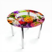 Стол обеденный Круглый с полкой Flowers