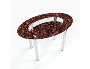Стол обеденный Овальный с полкой Coffee aroma