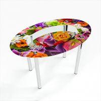 Стол обеденный Овальный с полкой Flowers
