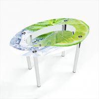 Стол обеденный Овальный с полкой  Ice lime