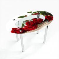 Стол обеденный Овальный с полкой  Red Roses