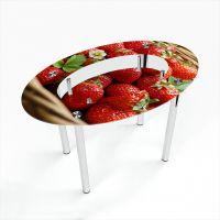 Стол обеденный Овальный с полкой Strawberry