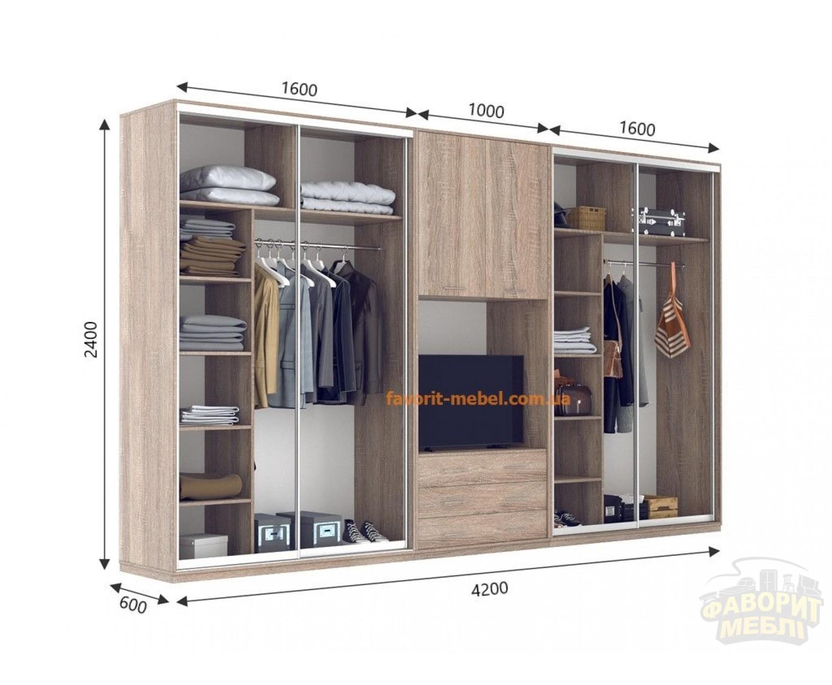 Шкаф Купе Под ТВ Ультра (420х60х240)