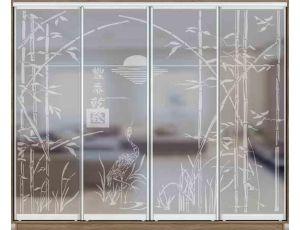 Шкаф купе 4 двери с матированием 290х45х240 см