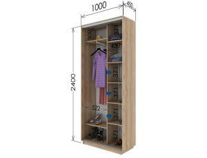 Шкаф купе 2 двери 100х45х240 см