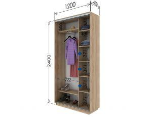 Шкаф купе 2 двери 120х45х240 см