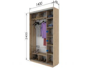 Шкаф купе 2 двери 140х45х240 см