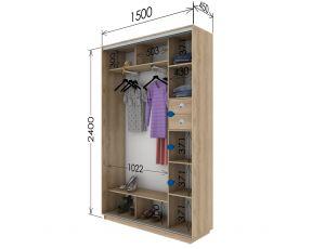 Шкаф купе 2 двери 150х45х240 см