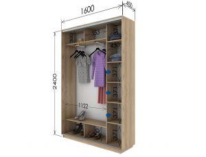 Шкаф купе 2 двери 160х45х240 см
