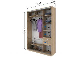 Шкаф купе 2 двери 170х45х240 см