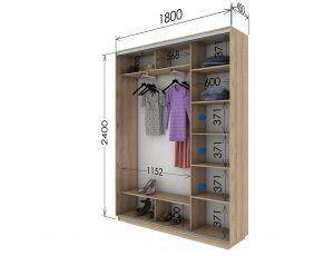 Шкаф купе 2 двери 180х45х240 см
