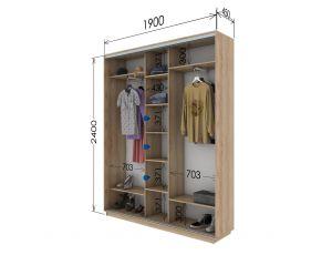 Шкаф купе 3 двери 190х45х240 см