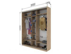 Шкаф купе 3 двери 200х45х240 см