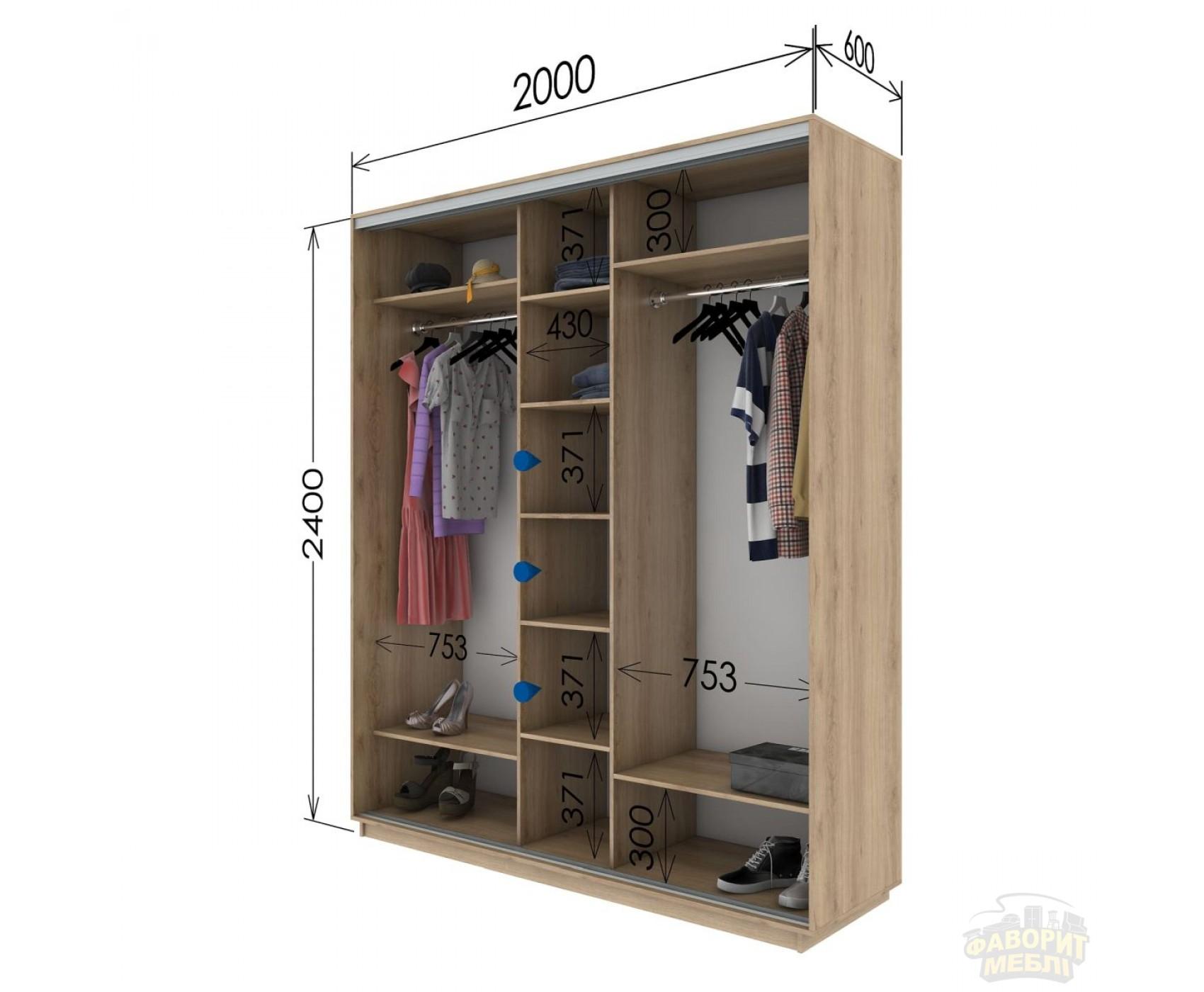 Шкаф купе 3 двери 200х60х240 см
