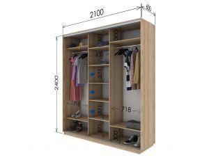 Шкаф купе 3 двери 210х60х240 см
