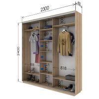 Шкаф купе 3 двери 230х45х240 см со склада 3дв ДСП/ДСП/Зеркало Дуб молочный