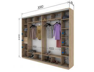 Шкаф купе 4 двери 300х45х240 см