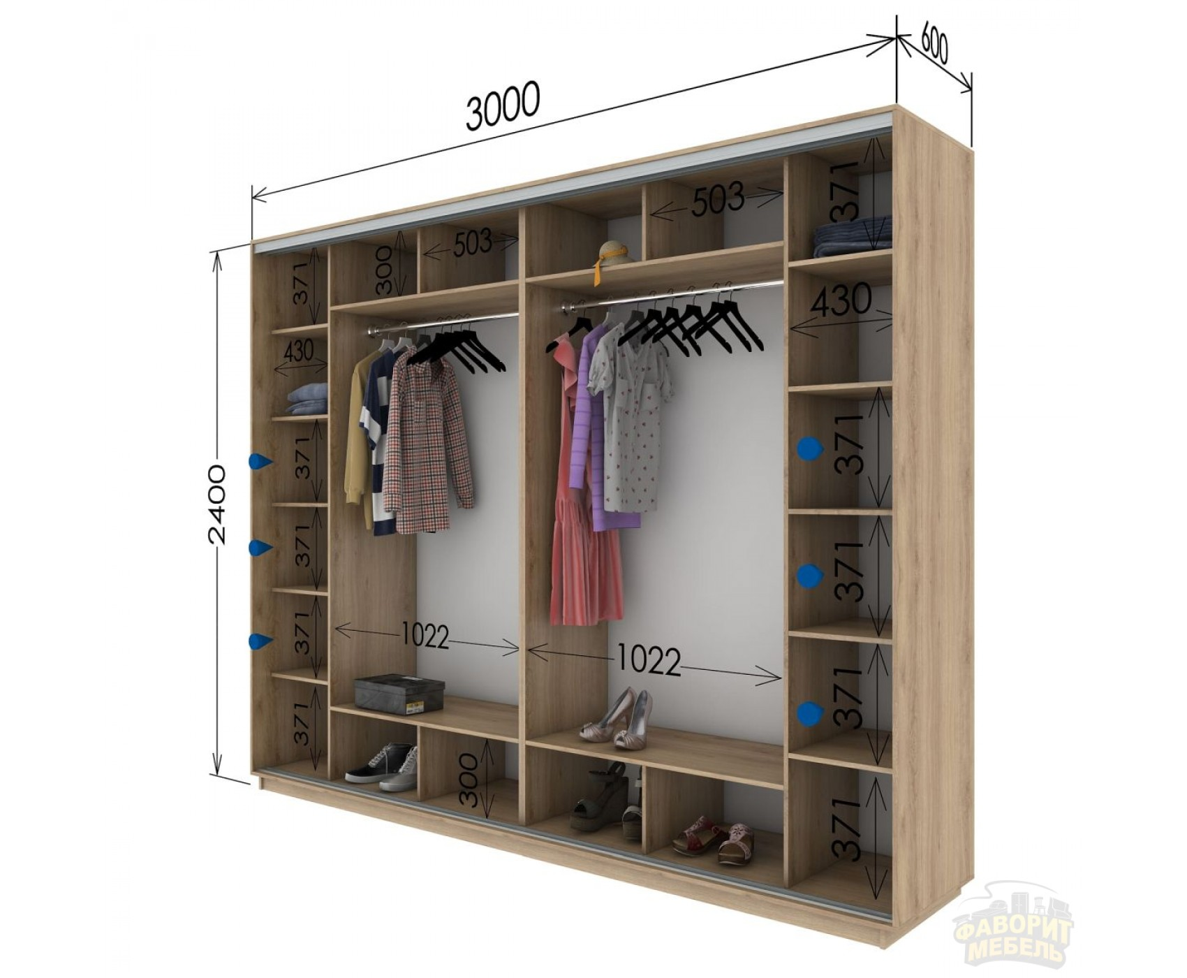 Шкаф купе 4 двери 300х60х240 см