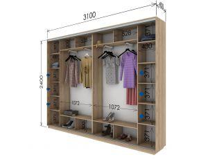 Шкаф купе 4 двери 310х45х240 см