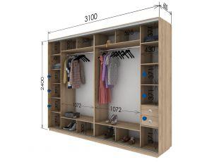 Шкаф купе 4 двери 310х60х240 см