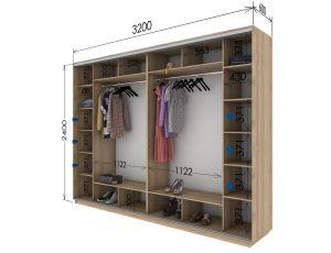 Шкаф купе 4 двери 320х60х240 см
