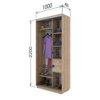 Шкаф купе 2 двери 100х45х220 см