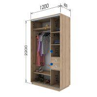 Шкаф купе 2 двери 120х60х220 см