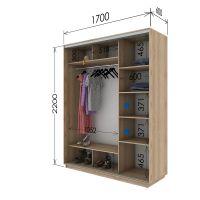 Шкаф купе 2 двери 170х60х220 см