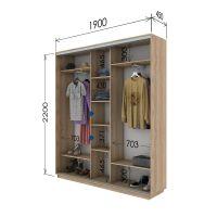 Шкаф купе 3 двери 190х45х220 см