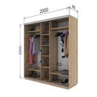 Шкаф купе 3 двери 200х60х220 см