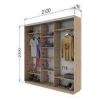 Шкаф купе 3 двери 210х45х220 см