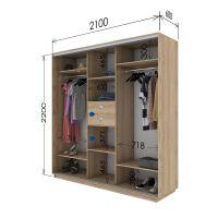 Шкаф купе 3 двери 210х60х220 см