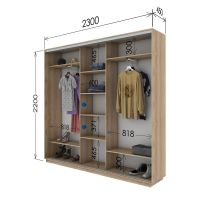 Шкаф купе 3 двери 230х45х220 см