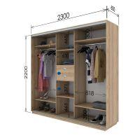 Шкаф купе 3 двери 230х60х220 см