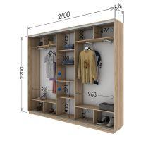 Шкаф купе 3 двери 260х45х220 см