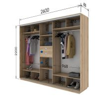 Шкаф купе 3 двери 260х60х220 см
