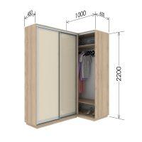 Шкаф купе приставной к шкафу 45 глубина 100х60х220 см