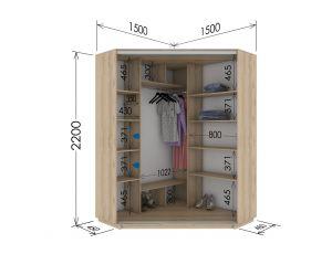 Шкаф купе угловой 150х150х220 см