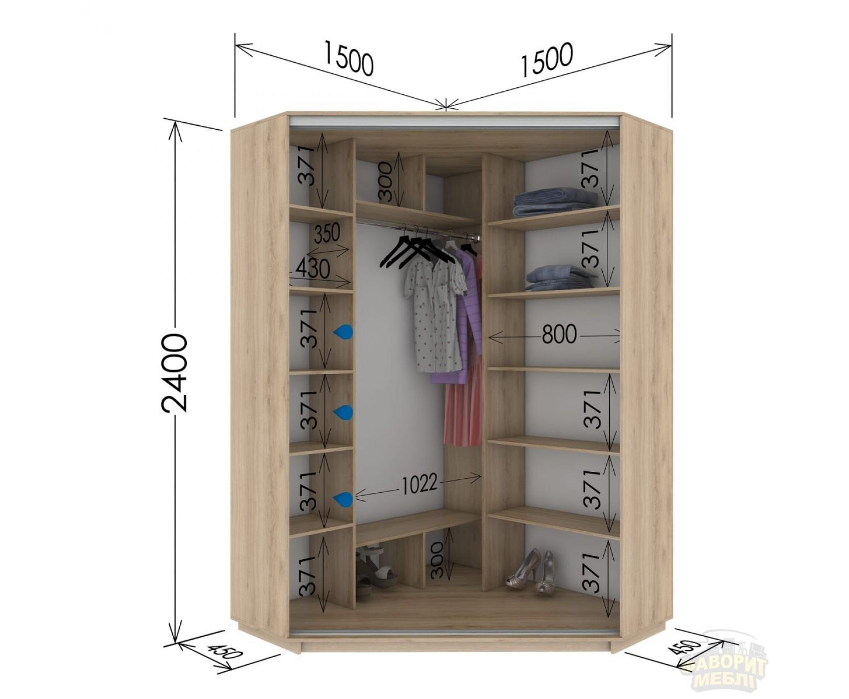 Шкаф купе угловой 150х150х240 см