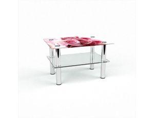 Стол журнальный Прямоугольный с полкой Pink Roses