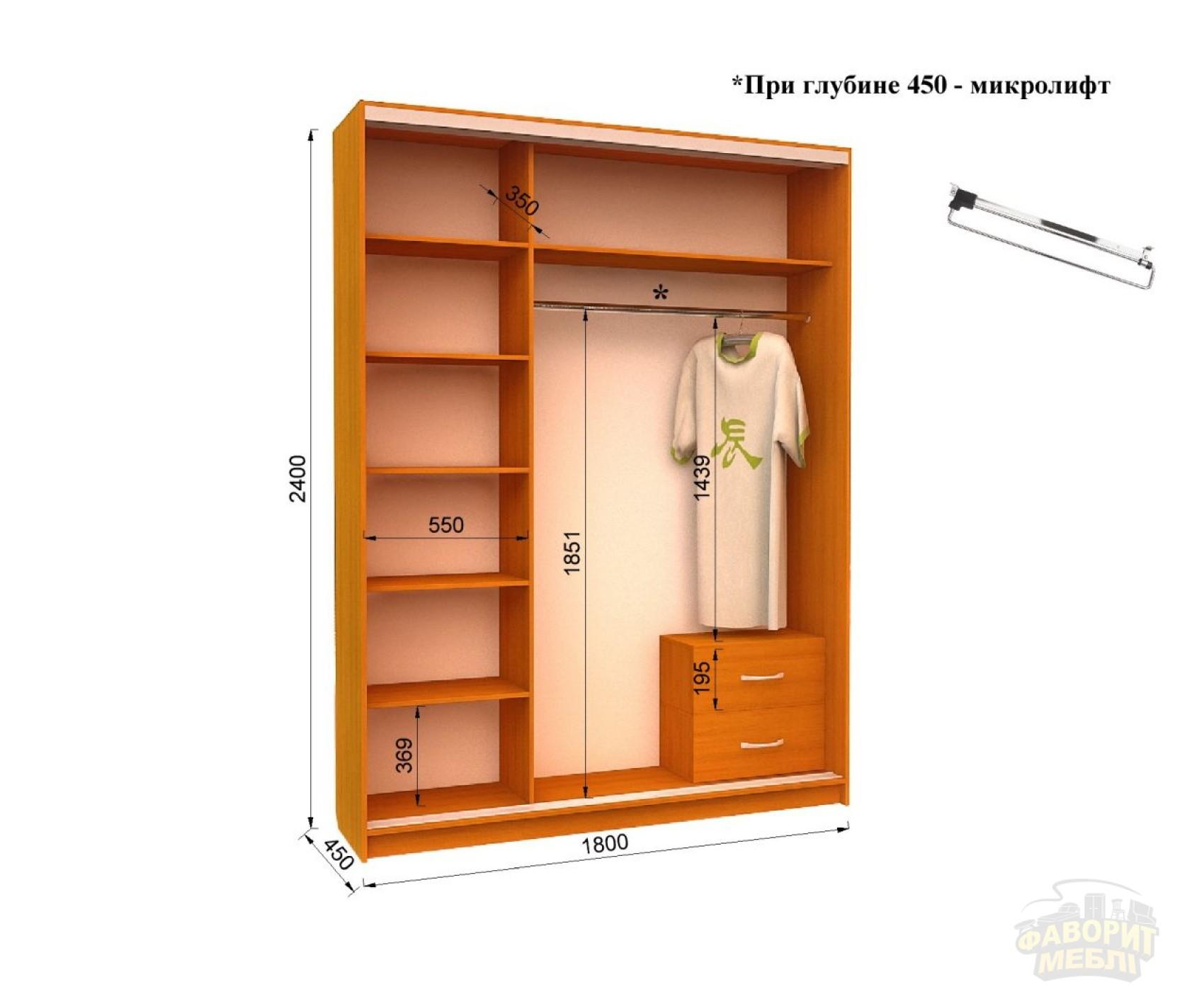 Шкаф-купе FLASHNIKA Ника 4 (180х45х240 см)