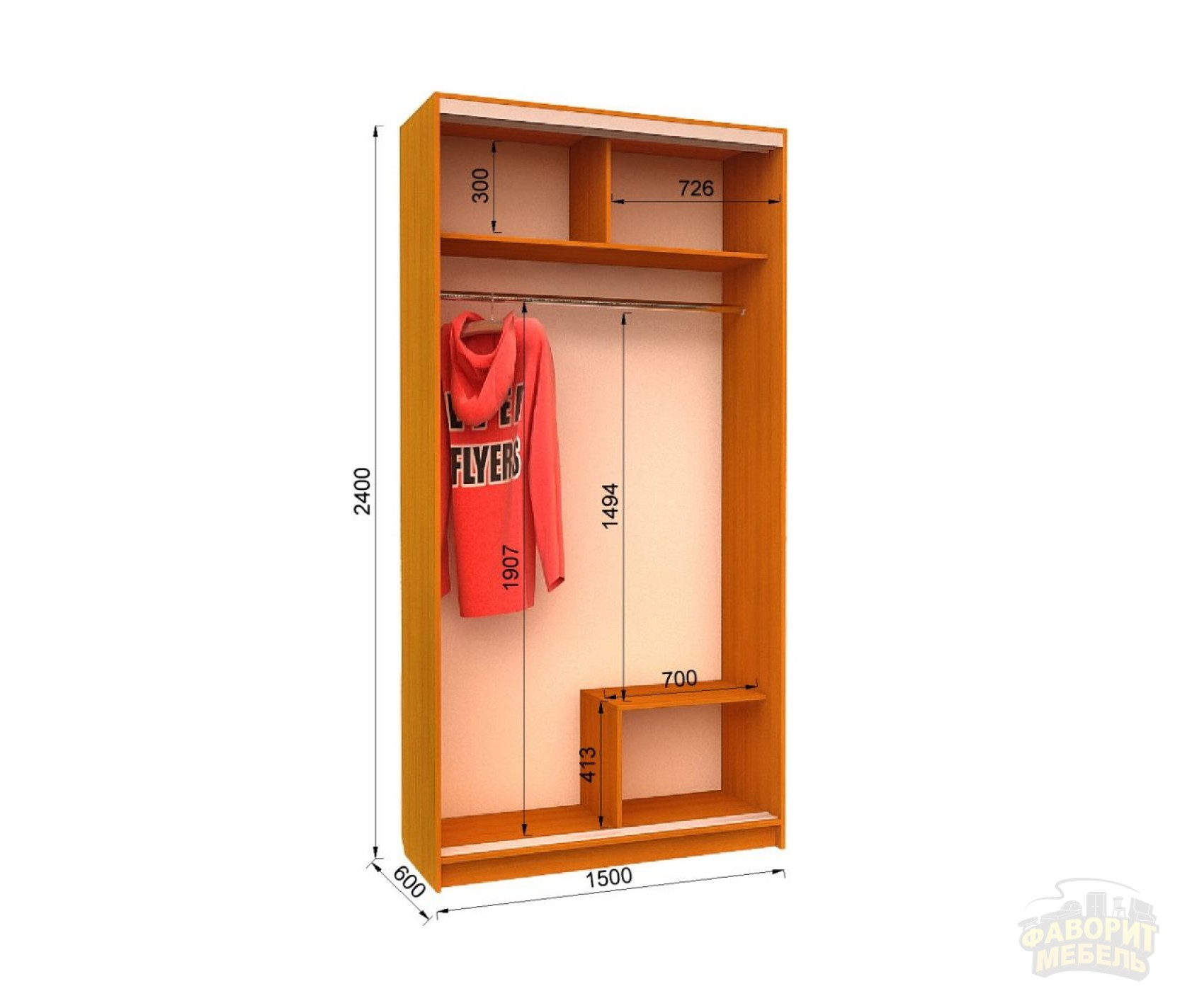 Шкаф-купе FLASHNIKA Ника 9 (150х60х240 см)