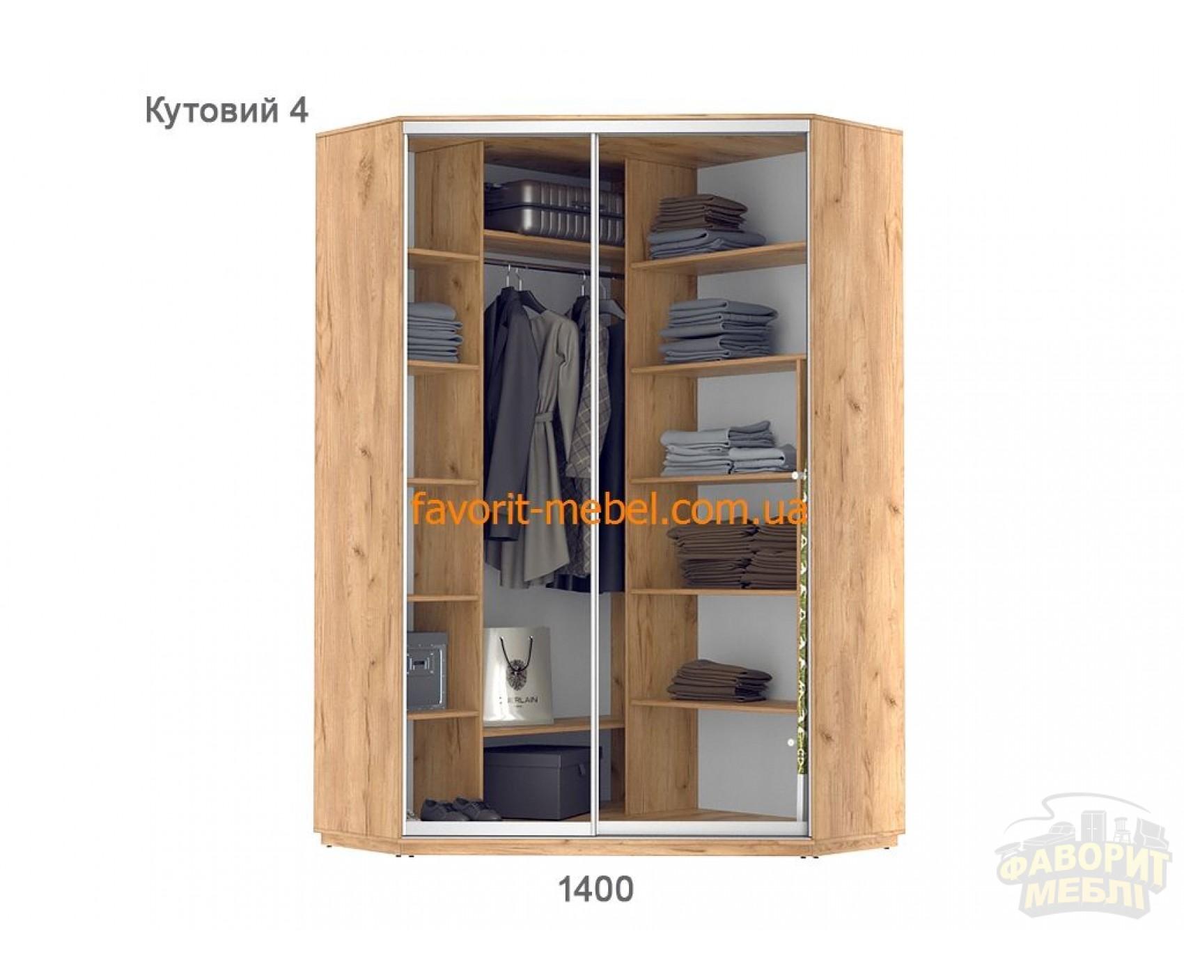 Шкаф купе Практик угловой 4 (140х140х240 см)