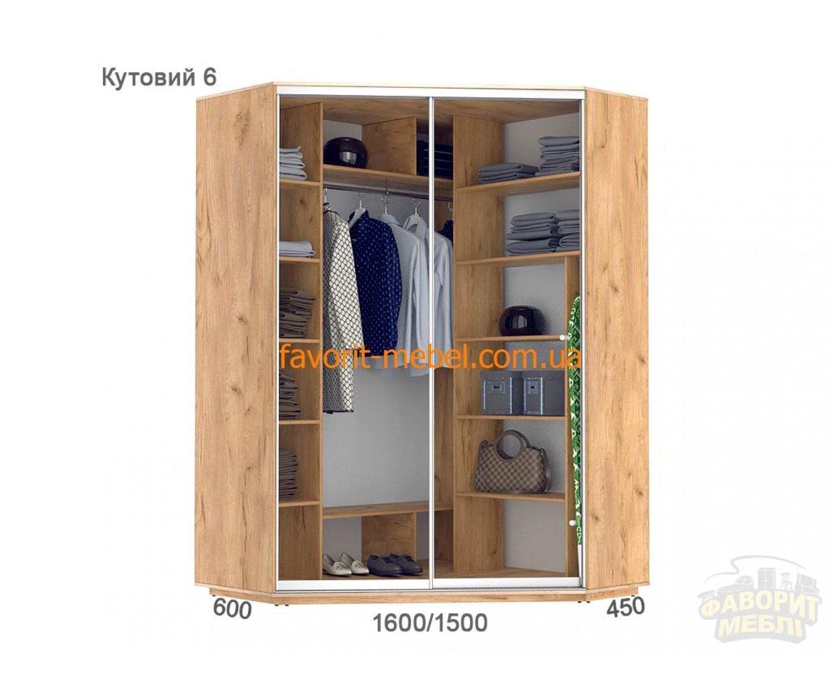 Шкаф купе Практик угловой 6 (160х150х240 см)