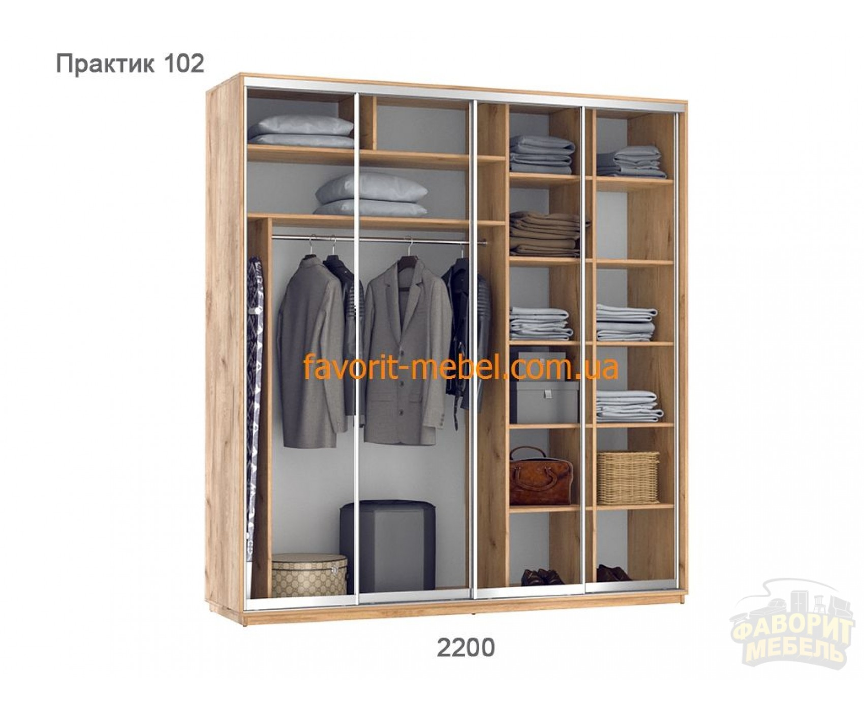 Шкаф купе Практик 102/4 (220х60х240 см)